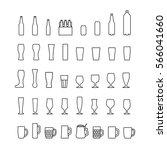 beer bottles and glasses line... | Shutterstock .eps vector #566041660
