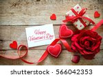 red hearts  rose  ribbon ... | Shutterstock . vector #566042353