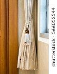 beige curtains in a classic... | Shutterstock . vector #566052544