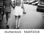 bride in extremely short and... | Shutterstock . vector #566053318