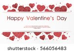 poster with hearts of red... | Shutterstock .eps vector #566056483