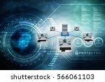 3d rendering computer network | Shutterstock . vector #566061103