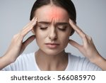 health and pain. stressed... | Shutterstock . vector #566085970