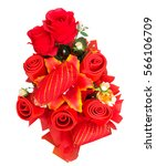 bouquet of red roses on white... | Shutterstock . vector #566106709