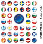 glossy button flags   europe.... | Shutterstock .eps vector #56610937