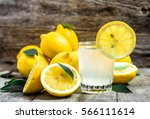 glass of lemonade and fresh... | Shutterstock . vector #566111614