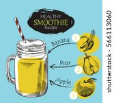 hand drawn smoothie recipe... | Shutterstock .eps vector #566113060
