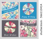 set of floral greeting cards... | Shutterstock .eps vector #566113414
