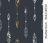 seamless hand drawn geometric... | Shutterstock .eps vector #566118010