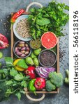 fresh vegetables and fruits ... | Shutterstock . vector #566118196