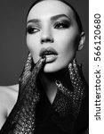 fashion studio portrait of...   Shutterstock . vector #566120680