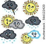 clouds and sun cartoon. weather ... | Shutterstock .eps vector #566122420