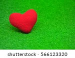 Red Heart  On Green Backgroud
