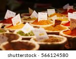 various spices on farmer market ... | Shutterstock . vector #566124580