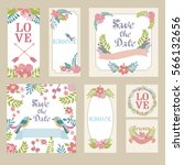 set of cute card for wedding... | Shutterstock .eps vector #566132656