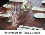 glasses  flowers  fork  knife... | Shutterstock . vector #566134006