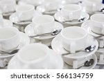 cups served for people at... | Shutterstock . vector #566134759