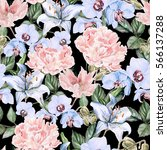 watercolor pattern with peony... | Shutterstock . vector #566137288