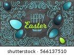 modern happy easter lettering... | Shutterstock .eps vector #566137510