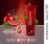 pomegranate skin care cosmetic. | Shutterstock .eps vector #566137789