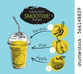hand drawn smoothie recipe... | Shutterstock .eps vector #566148859