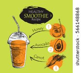 hand drawn smoothie recipe... | Shutterstock .eps vector #566148868
