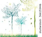 vector spring trees bright... | Shutterstock .eps vector #566153446