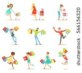 shopaholic people happy and... | Shutterstock .eps vector #566156320