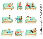 people resting at home relaxing ... | Shutterstock .eps vector #566156416