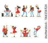 artists playing music... | Shutterstock .eps vector #566156524