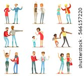 people fighting and quarrelling ... | Shutterstock .eps vector #566157220