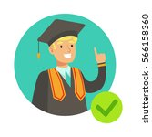 student in graduation mantle ... | Shutterstock .eps vector #566158360