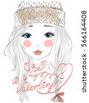hand drawn beautiful cute girl... | Shutterstock .eps vector #566164408