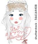 hand drawn beautiful cute girl... | Shutterstock .eps vector #566164408