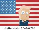 donald trump with american flag ... | Shutterstock .eps vector #566167708