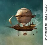 steampunk hot air balloon   3d... | Shutterstock . vector #566176180