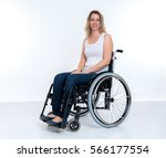 young disabled woman in... | Shutterstock . vector #566177554