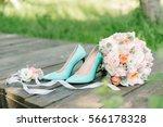 beautiful wedding bridal pink... | Shutterstock . vector #566178328