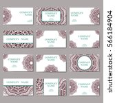 set of business cards. vintage... | Shutterstock .eps vector #566184904