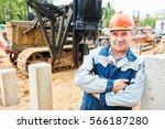 construction worker in front of ... | Shutterstock . vector #566187280