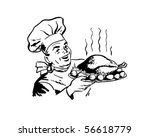chef with roast poultry   retro ... | Shutterstock .eps vector #56618779