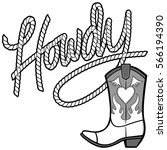 howdy cowgirl rope and boot... | Shutterstock .eps vector #566194390