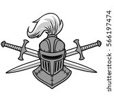knight helmet and crossed... | Shutterstock .eps vector #566197474