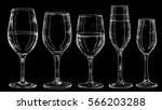 types of wine glasses vector...