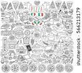 set of various pizza types ... | Shutterstock .eps vector #566213179
