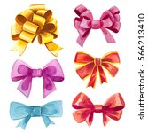watercolor gifts and bows... | Shutterstock . vector #566213410