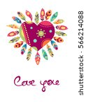 valentines day card heart with... | Shutterstock .eps vector #566214088
