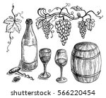 set of wine bottle and barrel... | Shutterstock .eps vector #566220454