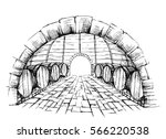 wine cellar with barrels in... | Shutterstock .eps vector #566220538