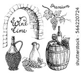 set of wine bottles and...   Shutterstock .eps vector #566220724